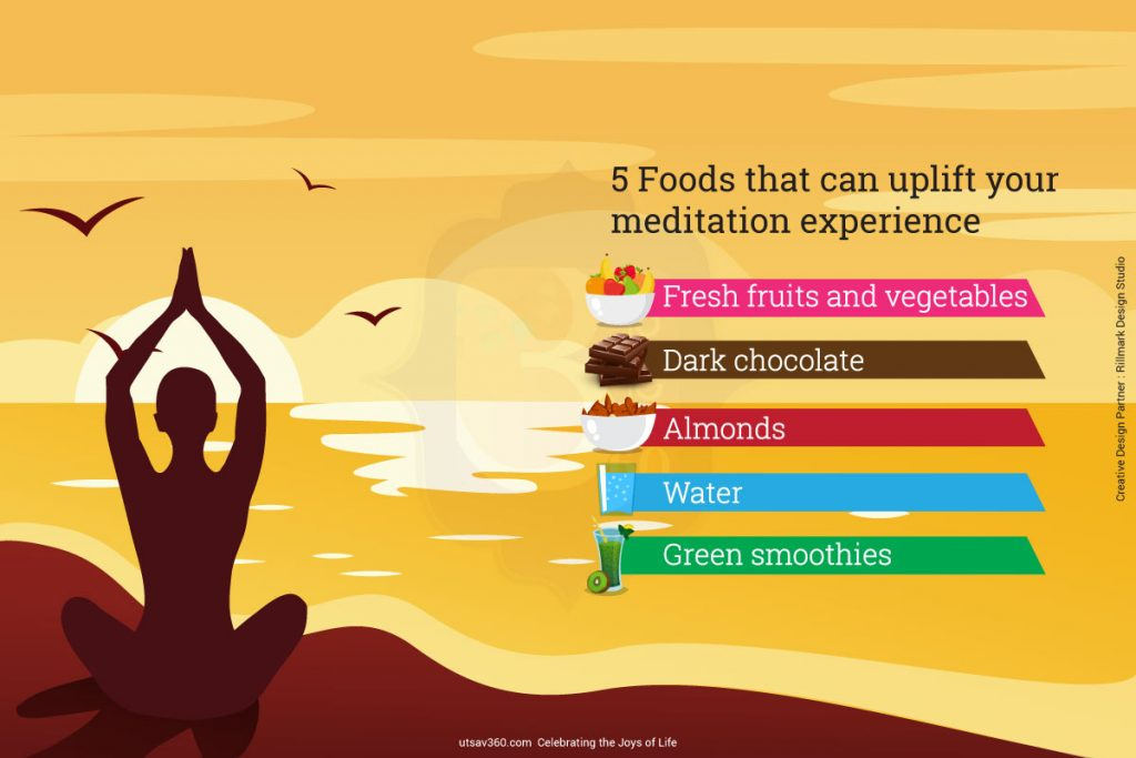 5 foods that can uplift your mediation experience 1. Fruits and vegetables 2. Dark Chocolate 3. Almonds 4. Water 5. Green Smoothies